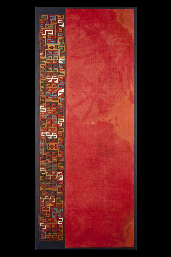Precolumbian Textile Masterpiece of a Rare Turbante Still Attached to its original Textile Panel from the Proto Nazca Culture of the South C...