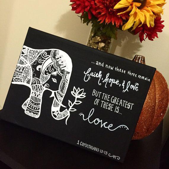 Tribal Elephant Canvas by PrettyLittleCraftInc on Etsy