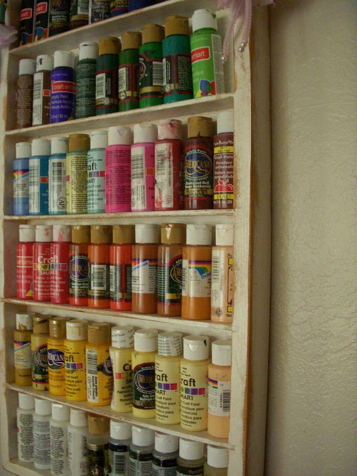 Wood Shelf Craft Art Supply Storage Sewing Room