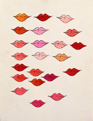 Andy Warhol (American, 1928-1987)  Lips (Stamped), 1950s   ink and Dr. Martin's Aniline dye on Strathmore paper  14 1/2 x 11 1/4 in. (36.8 x 28.6 cm.)  The Andy Warhol Museum, Pittsburgh; Founding Collection, Contribution The Andy Warhol Foundation for the Visual Arts, Inc.  ©The Andy Warhol Foundation for the Visual Arts, Inc.  1998.1.1466 简单的符号性,重复变化,仿佛在叙述故事