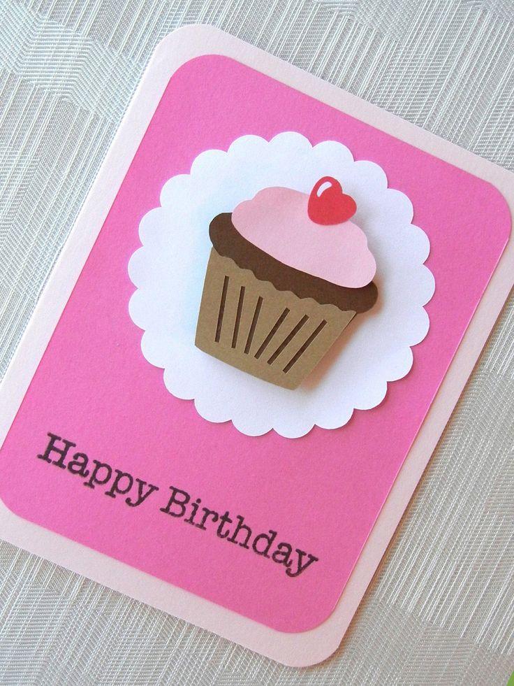 Birthday Card - Happy Birthday - Kids Birthday Card - Handmade - 3D - First Birthday - Birthday Card for Girl - Cupcake - Pink. $4.99, via Etsy.