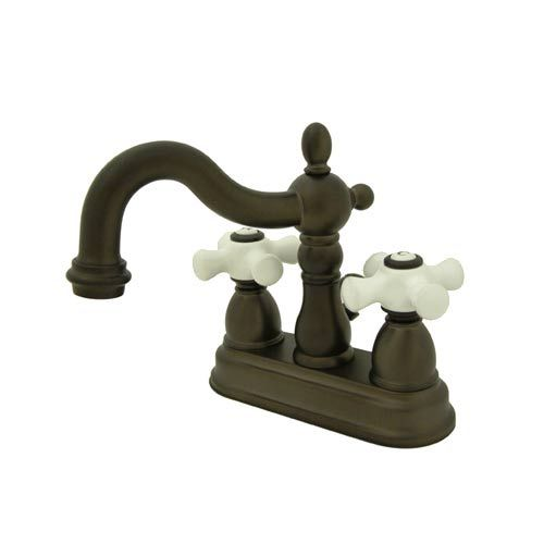 elements of design new orleans oil rubbed bronze bathroom faucet with porcelain crosses - Oil Rubbed Bronze Bathroom Faucet