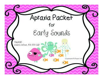 Young students with apraxia or severe articulation deficits can practice early developing sounds using this cute fish theme! There are multiple activities for bilabial and alveolar sounds. This packet includes: -8 Game boards for syllable practice + one blank -Octopus CV/VC practice -Functional vocabulary cards for bilabials (18) -Functional vocabulary cards for alveolars (18) -Functional vocabulary cards for multi-syllabic words (18) -Wild cards (6) -Deletion of consonant cards for /p, ...
