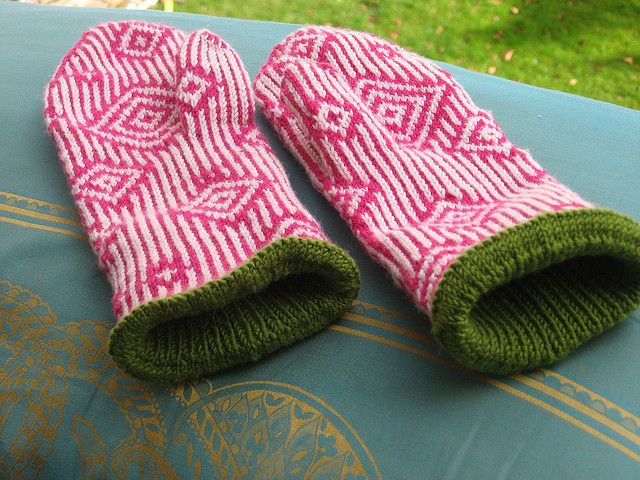 """""""Paradoxical Mittens 237"""" knit by BettaPi. Pattern by Lucy Neatby"""