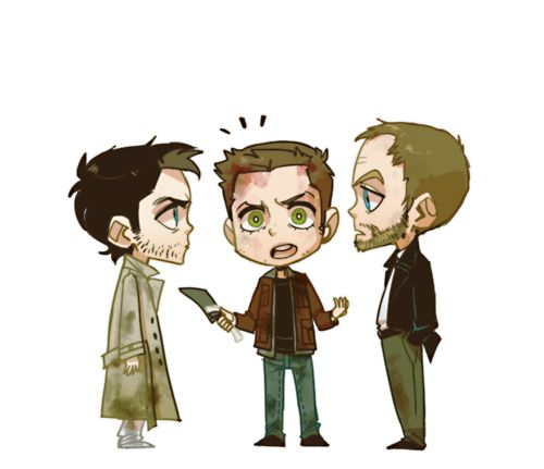 "It'd better be temporary. Freaking cock block, Benny.    ""Your angel is giving me nasty look, Dean.""    ""Cas, I said it's just a temporary solution!"""