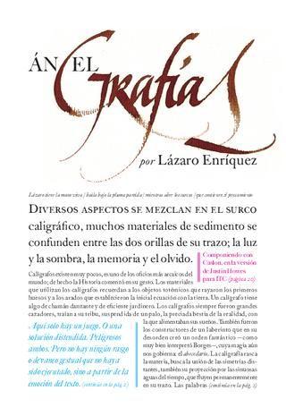 Angelgrafías  «Luna de abajo 3/7». Caligrafías de Lázaro Enríquez. Compuesto con la familia tipográfica Caslon, en la versión de Justin Howes para ITC en 1998.
