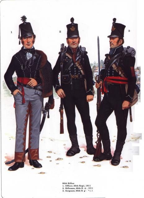 95th Rifles, officer, rifleman and sergeant, 1811.