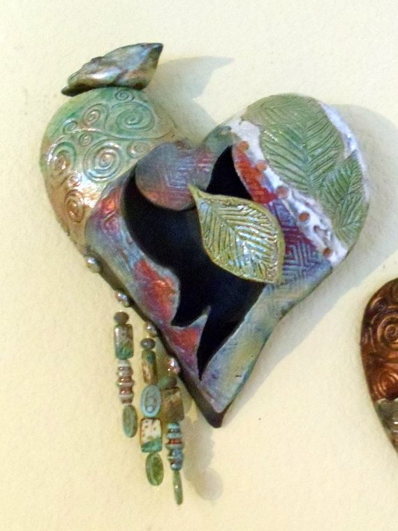 Raku ceramic heart with bird and beads