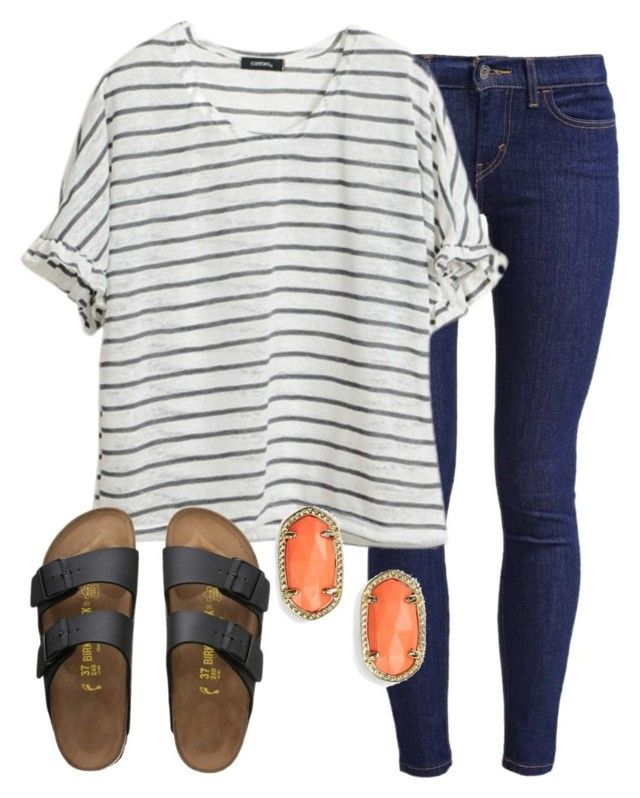 """""""OOTD"""" by prep-lover1 ❤ liked on Polyvore featuring moda, Levi's, Kendra Scott e Birkenstock"""