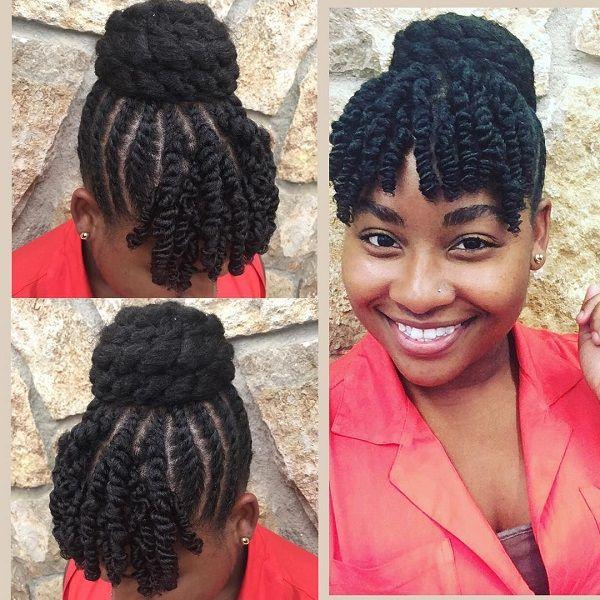 Twisted Top Bun Bangs Protective Natural Hairstyles