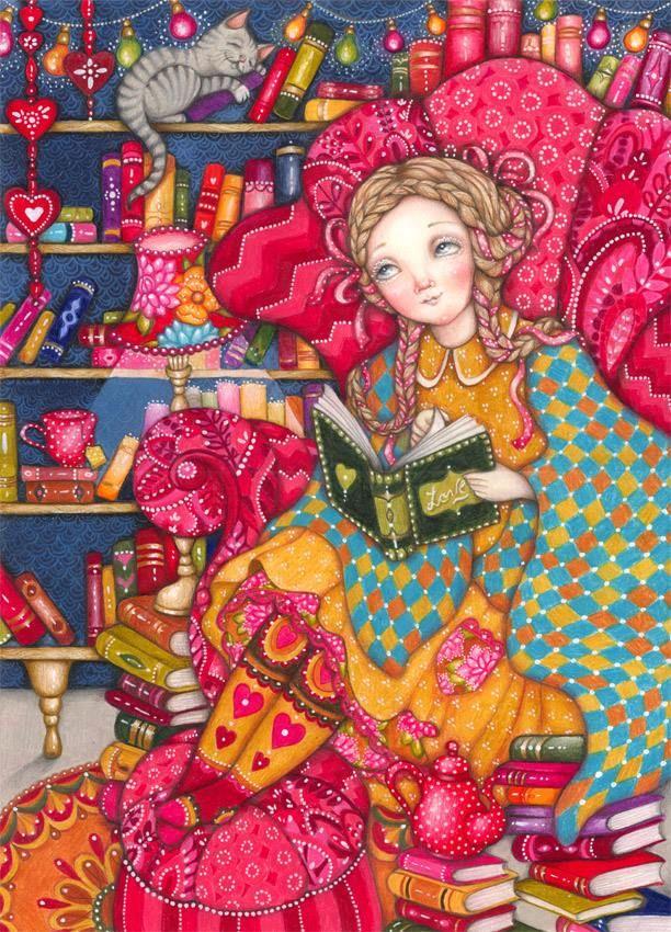 Between books and colors / Entre libros y colores (ilustración de Annika Hiltunen)