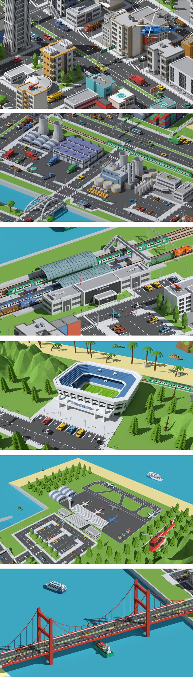 SimplePoly World is a massive pack of low poly assets perfect for creating modern city environments, villages, farms, medieval environments and natural landscapes.- Modern and unique buildings and props - A massive collections of roads, bridges, road signs and road props - A big collections of vehicles including land, trains, water and air vehicles