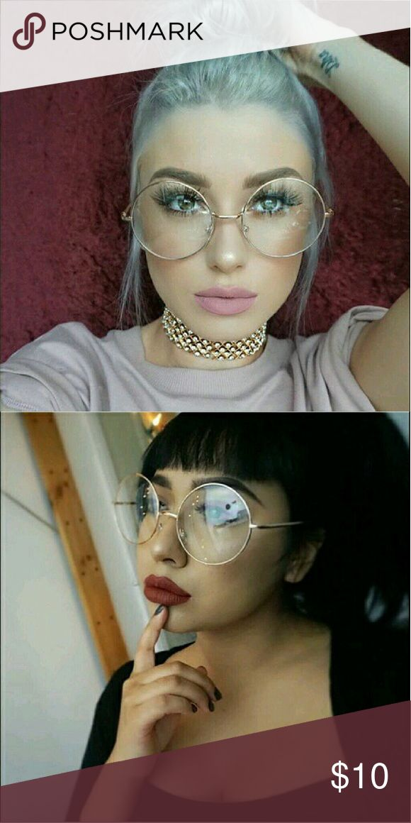 Oversized Clear Round Glasses I have one pair, gold frames, Very Cute! Accessories Sunglasses