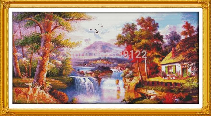 ==> [Free Shipping] Buy Best Golden Scenery (4)! DIY Needlework 11CT 14CT DMC Counted Cross Stitch Sets Kits for Embroidery Knitting Needles Handmade Crafts Online with LOWEST Price | 32228048681