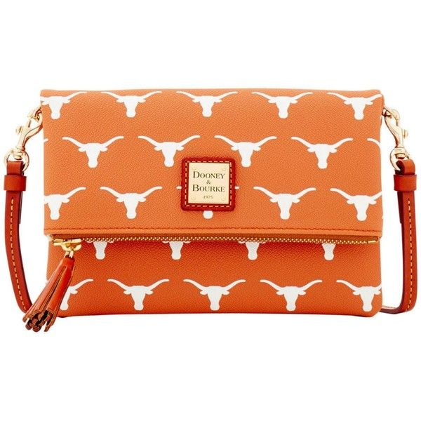 Dooney & Bourke Texas Longhorns Foldover Crossbody Purse ($158) ❤ liked on Polyvore featuring bags, handbags, shoulder bags, orange, fold over crossbody purse, dooney bourke handbags, orange crossbody purse, orange shoulder bag and purse shoulder bag