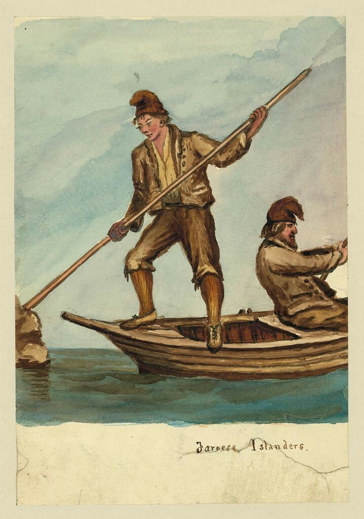 """Title:Faroese islandersCreator(s):Taylor, Bayard, 1825-1878, artistDate Created/Published:[1862]Medium:1 drawing : watercolor over graphite underdrawing.Summary:Drawing shows two Far""""e islanders on a rowboat. One stands and pushes against rocks with a long pole while the other sits and rows. Taylor visited the Faroe Islands in 1862, perhaps en route to Russia."""