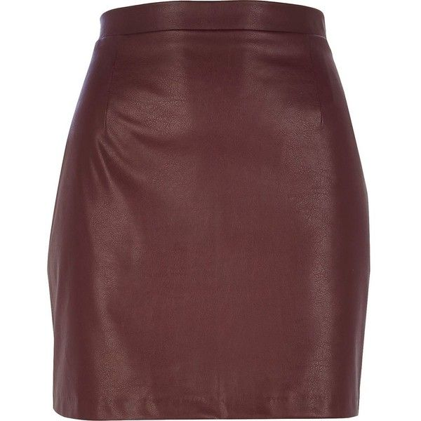 River Island Dark red leather-look mini skirt (£15) found on Polyvore featuring women's fashion, skirts, mini skirts, bottoms, red, sale, leather look skirt, leather look mini skirt, straight skirt and red short skirt