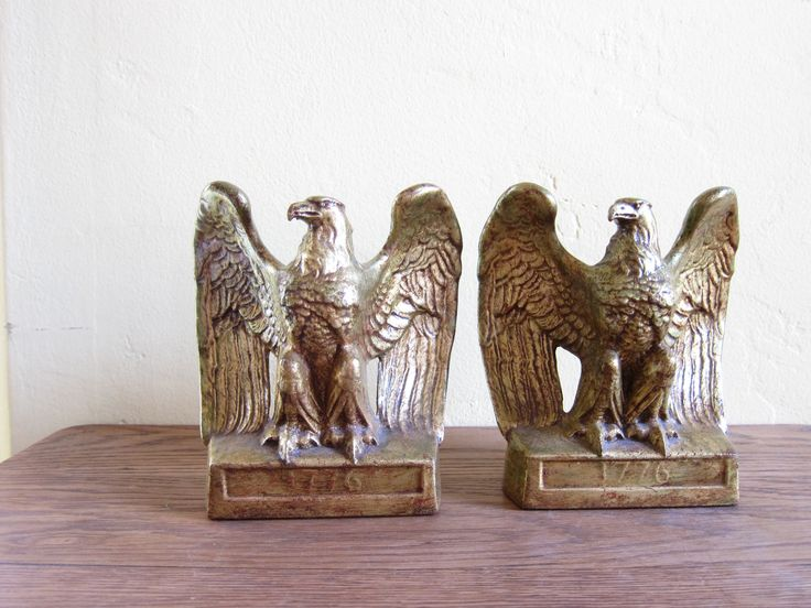 Vintage Gold Eagle Statue Bookends by PMC Craftsman Company
