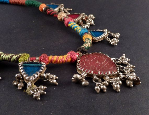 Rajasthan silver and glass old amulet necklace - indian ethnic jewelry - necklace from India - jewellery from Rajasthan - muslim amulet