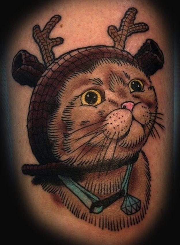 Deer Hat Cat | 38 Weird Or Wonderful Cat Tatts
