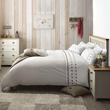 Taupe Gingham Hearts Collection Duvet Cover | Dunelm