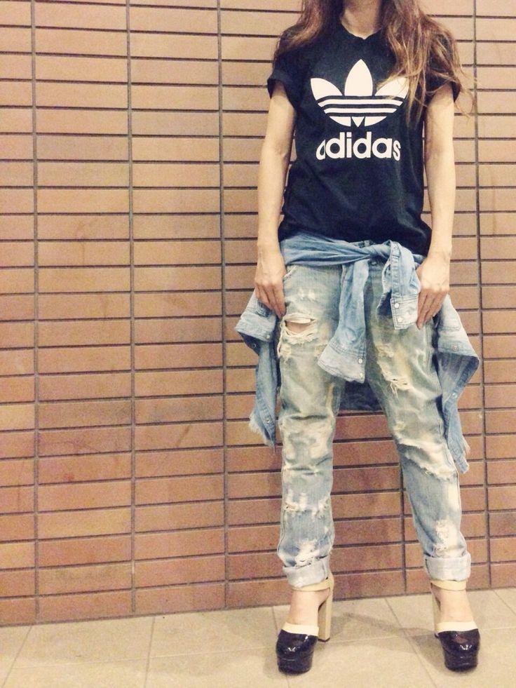 misaさんのTシャツ/カットソー「adidas オリジナルス Tシャツ[ORIGINAL TREFOIL TEE]」を使ったコーディネート