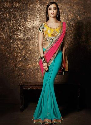 Pink And C Green Plain Georgette Half Actress Saree With Artsilk Blouse Bollywood Sarees Online on Shimply.com