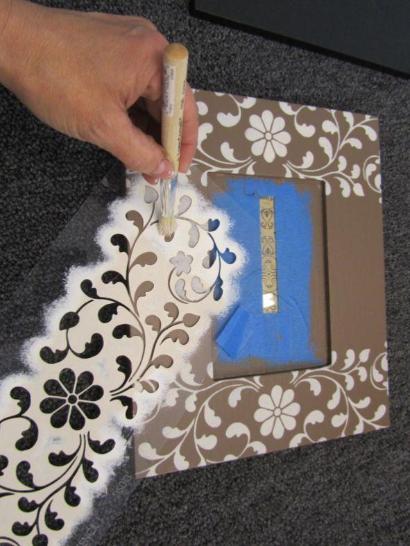 how to stencil picture frames   ... -edge-stencils-indian-inlay-stencil-diy-stenciled-picture-frames