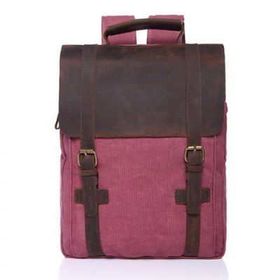 Preppy Color Block and Buckles Design Men's Backpack