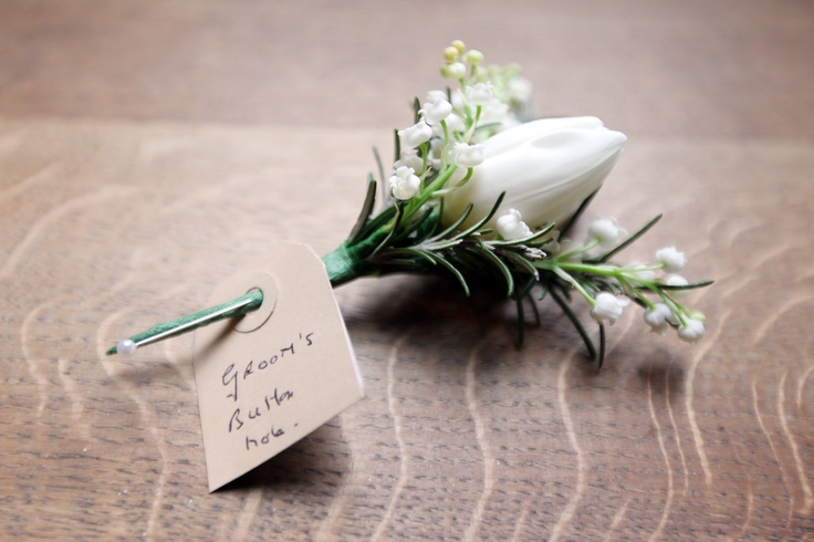 white tulip and lily of the valley buttonhole - image by Danni Beach www.dannibeachphotography.com