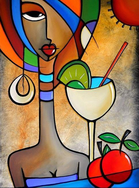 "Art: Cubist 121 3040 W Original Cubist Art ""Solace"" by Artist Thomas C. Fedro."