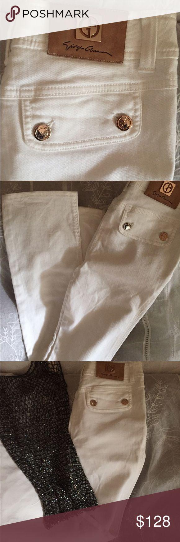 Giorgio Armani white jeans Giorgio Armani beautiful white jeans gold detail. Slit pockets Giorgio Armani Jeans Straight Leg
