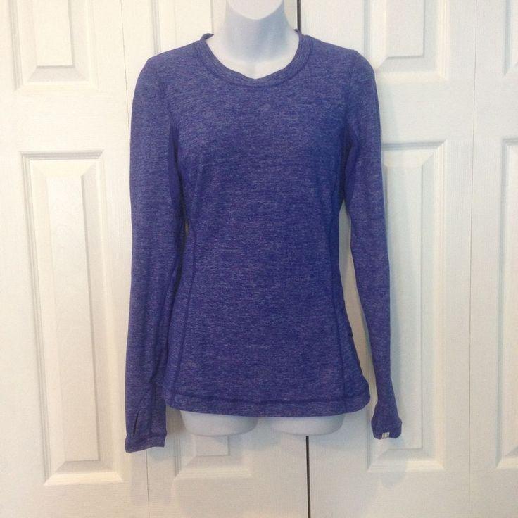Lululemon Run Dash 6 Long Sleeve Ruffle Back Static Wish Blue Top Shirt #Lululemon #ShirtsTops