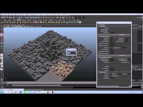 Autodesk Maya procedural city generator. #3d
