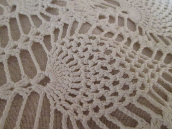Crocheted Feather Soft White Doily Shabby Chic by RitasGarden, $9.95
