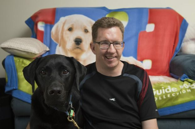 John Gamble and his guide dog Cole are looking forward to the Low Vision Mobility Expo.