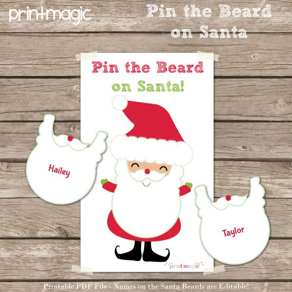 Adorable Santa Party Printables (including Pin the Beard on Santa game), entire party only $10!