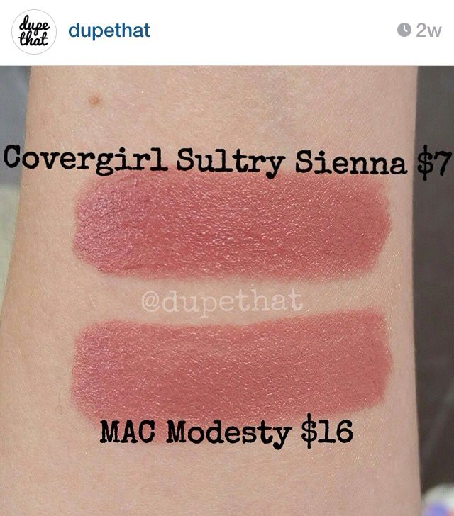"""Dupe for Mac Modesty = CoverGirl Sultry Sienna, from """"dupethat"""" on Instagram."""