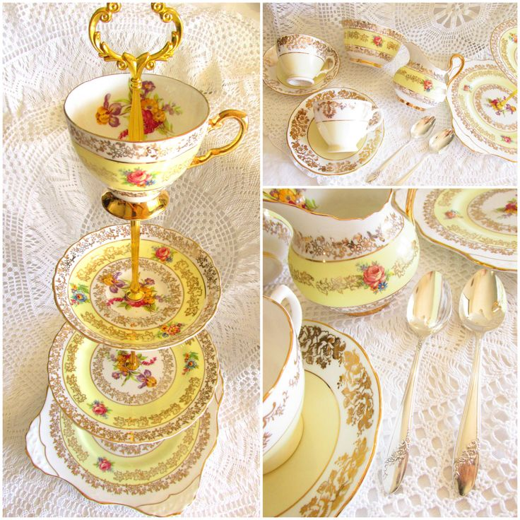 Pale Yellow Large 4-Tiered Tea Party Stand with Vintage China Teacups, Saucers, Creamer, Sugar Bowl & Teaspoons, Dessert Set By High Tea for Alice by HighTeaForAlice on Etsy