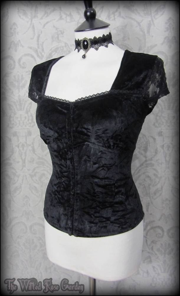 Romantic Gothic Black Crushed Velvet Lace Corset Style Top 14 16 Vampire Maiden | THE WILTED ROSE GARDEN