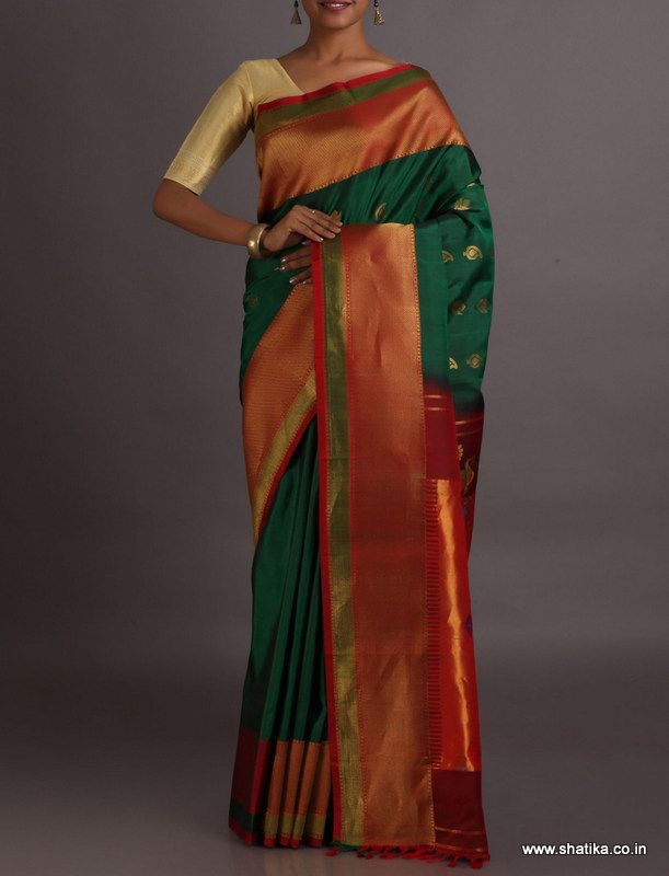 Nupur Broad Border Ethereal Color Combinationed Mor Motif Pure #PaithaniSilkSaree