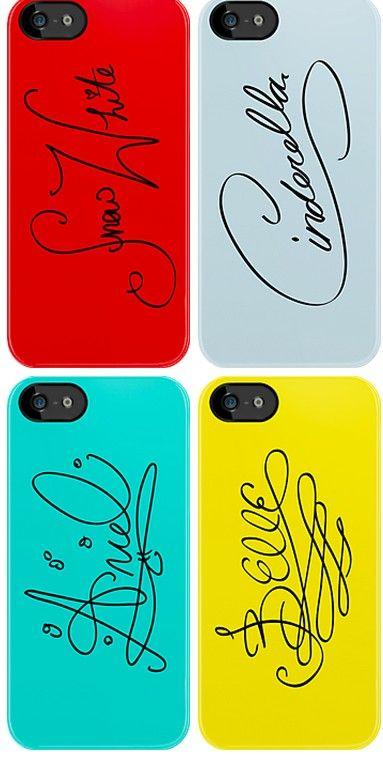 Disney Princess' autographs on iPhone cases :)