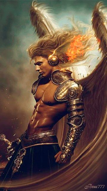 MY BEAUTIFUL FLAMING MALE WARRIOR ANGEL  (GIF).
