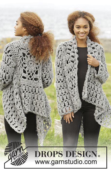 Crochet DROPS jacket worked in a square in Cloud. Size S-XXXL. Free pattern by DROPS Design.