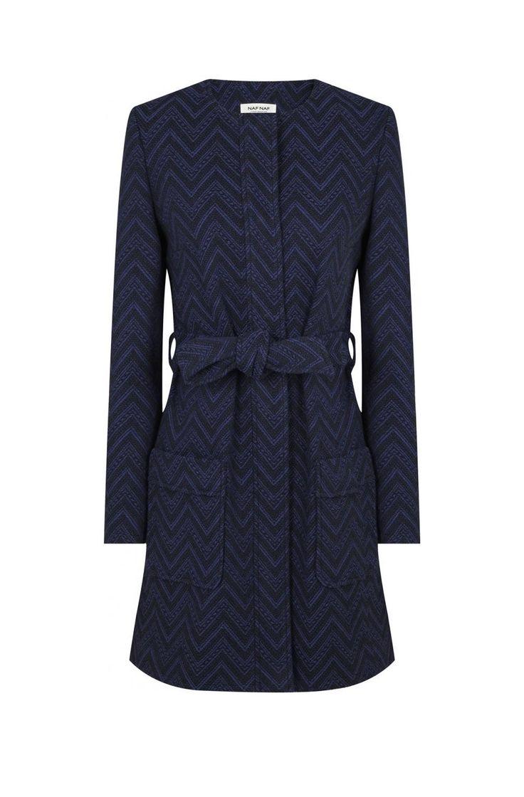 Naf naf manteau ceinturé bleu nuit 1
