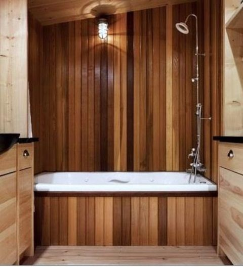 Can't find a wooden bath or feel it would be out of your price range? How about just adding a wooden bath panel and wooden wall paneling to your bathroom instead!