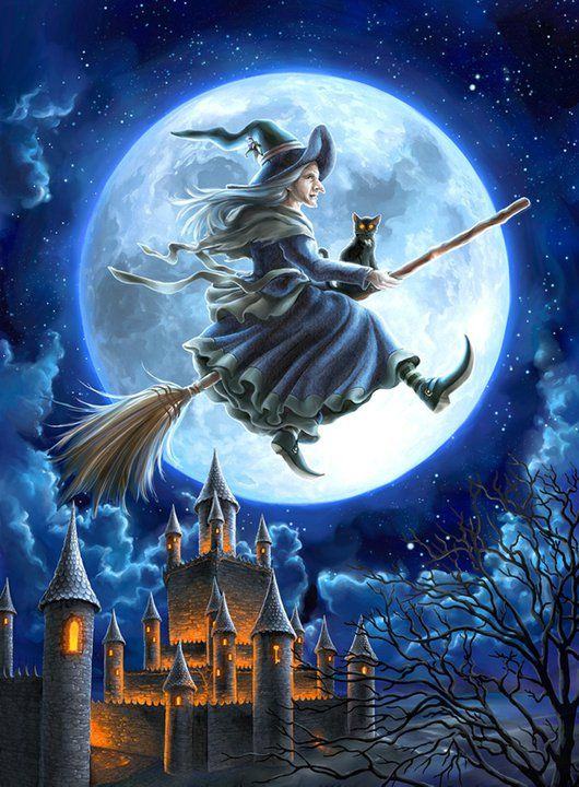 flying witch ~ full moon ~ Halloween {artist undetermined}
