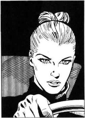 Eva Kant, faithful lover/accomplice of Diabolik, presumably at the wheel of an E-Type