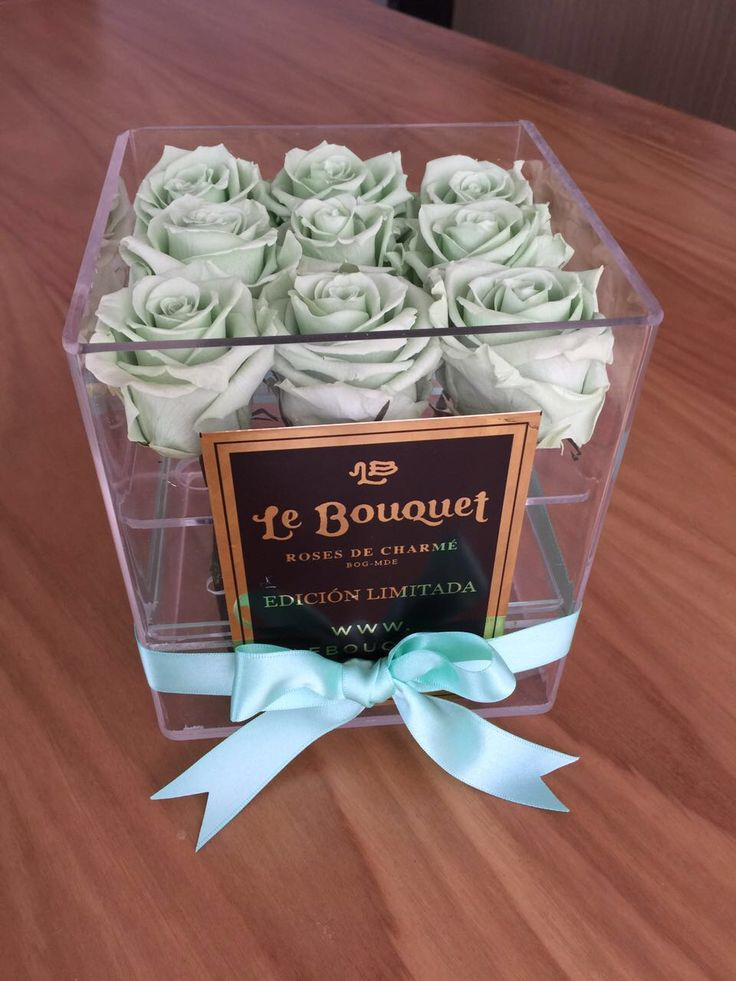Presentación en acrílico por 9 rosas estándar que duran 1 año verde menta Le Bouquet