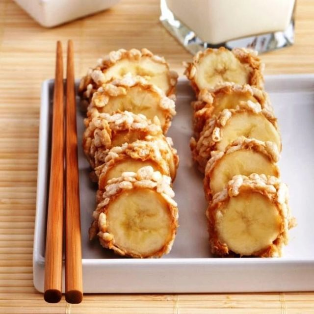Make adorable breakfast sushi by coating banana slices in peanut butter and rolling them in crisp rice cereal.